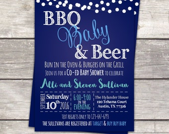 coed baby boy shower invitations, BBQ Babies and Beer, chalkboard, custom colors, digital invitation files