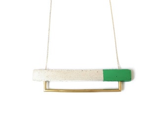 Green Concrete and Brass Tube Necklace
