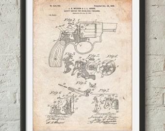 Smith and Wesson Hammerless Pistol 1898 Patent Poster, Revolver, Gun Enthusiast, Gun Art, Antique Gun, Gun Lover, Man Cave, PP1189