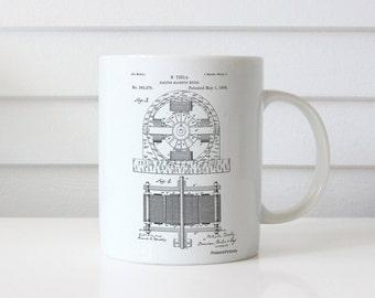 Tesla Electro Motor Patent Mug, Nikola Tesla, Technology Mug, Electric Motor, Tesla Motors, PP0173