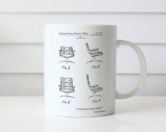 Eames Upholstered Chair Patent Mug, Modern Mug, Office Decor, Retro Furniture, PP0421