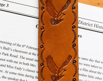 American Eagle Bookmark, Hand Tooled Leather Bookmark, American Eagle Leather Marker,Handmade Bookmark, Patriotic Gift,Tinas Leather Crafts