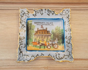 Vintage Porcelain Governor's Palace, Williamsburg, VA square plate, made in Japan