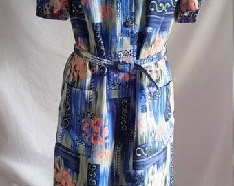 Eighties abstract floral dress size 12 made in Australia by Kenwall