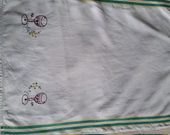 White linen tea towel with wine glass embroidery