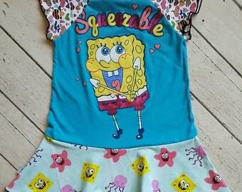 CLEARANCE!!  Girls size 2/3 upcycled spongebob dress