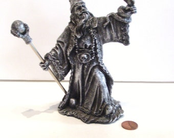 Wizard Figurine Mythical Legends Resin with Box Magic with Septre and Serpent