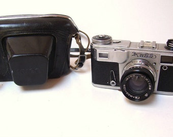 Vintage Russian Camera KUEB KIEV with Leather Case - 1.8/53 Lens