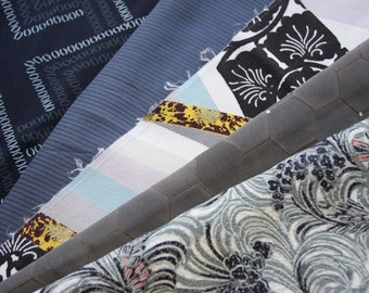 Black-Grey/ Mix pack/ Kimono silk fabric /Vintage Kimono fabric/B