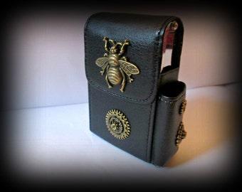 Black Leather Cigarette Case with Lighter Pocket-steampunk cigarette holder -cigarette case