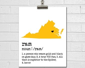 VCU Ram Print - College Dorm Decor - VCU Art - Dorm Decorations - Dorm Poster - College Room Decor - Graduation Gift