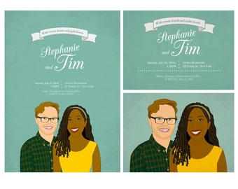 Custom couple portrait wedding invitation. Unique wedding invitation. Thank you card.