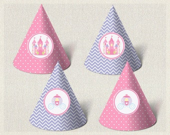 Printable Party Hats Birthday Princess Purple 1st 2nd 3rd Pink Girls IV-8