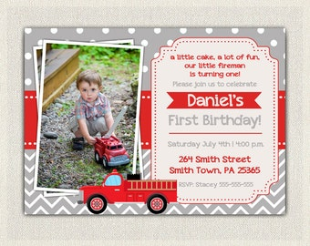 Boys Firefighter Fireman Fire Truck Birthday Invitation Red Gray Invitation Boys / 1st 2nd 3rd Birthday Invites / Printable / Party