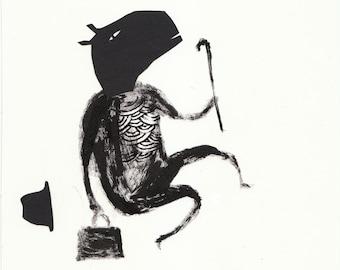 Solo No12. papercut, ink, primative, folk art