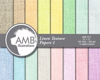 Linen Digital Papers, Fabric Pattern, Pastel Colors backgrounds, scrapbook papers for invites and crafts, commercial use, AMB-1071
