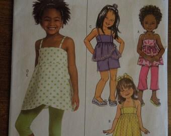 Butterick B5020, childrens, girls, summer wear, tops, dress, shorts, pants, leggings, UNCUT sewing pattern, craft supplies