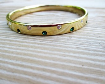 Gold tone Green and White Stone Bangle Bracelet