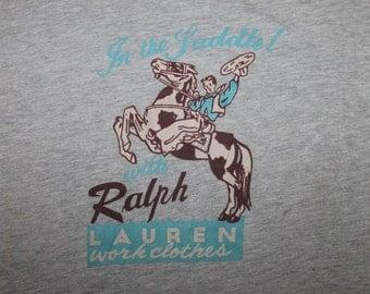 Vintage RALPH LAUREN In The Saddle Cowboy Pocket T-Shirt Sportsman