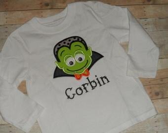 Halloween Vampire Dracula Shirt Infant Baby Toddler Boys Custom Applique 0 3 6 9 12 18 months 2T 3T 4T 5T