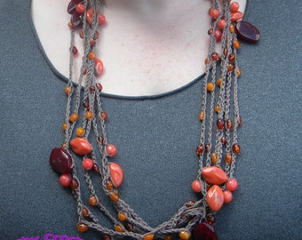 Hand Crochet Stranded Orange Necklace, Cotton, Semi Precious Stone