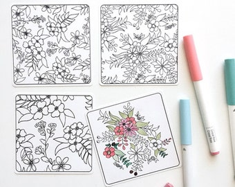 Four Coloring Mini Note Cards