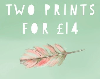 Your choice of two unframed standard A4 prints (excluding foil prints)