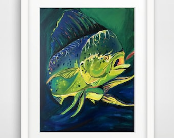 Art Print - Dolphin - Mahi Mahi - Ocean Wildlife - Fishing - Acrylic Painting