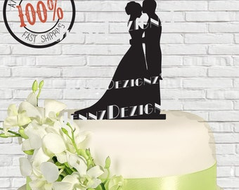 Silhouette Romantic Couple Kissing Wedding Cake Topper # CTS002 Made in USA