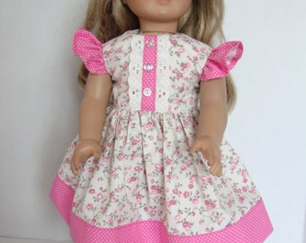 American Girl Doll Clothes/18 Inch Doll Dress, Pink and Green Flowered Dress with Lace and Buttons