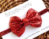 Baby/Girls Red Glitter Bow, Valentines Bow, Valentines Headband/Hair Clip, Holiday Bow, Sparkle Bow, Red Bow