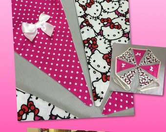 Hello Kitty Bunting, Cat lovers gift ,Christmas gift, baby shower gift, Gifts for her, pink nursery decor, hot pink bunting, kids room decor