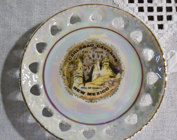 Vintage Carlsbad Caverns Souvenir Plate Saucer New Mexico State Travel Memento Kitsch Decor PanchosPorch