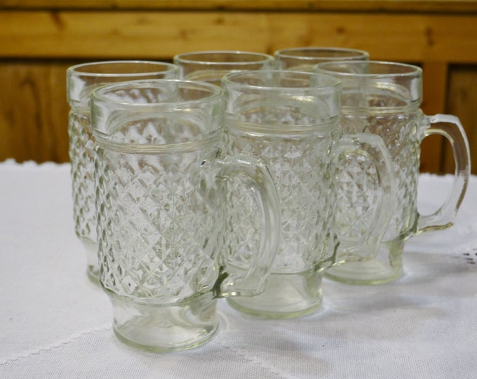 Vintage Glass Mug Set of 6 Diamond Pattern Root Beer Float Beer Lemonade Panchosporch