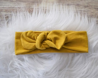Mustard Headband, Mustard Knot Headband, Fall headband,Knotted Headband, Turban Headband, Infant Headband, Toddler Headband, adult