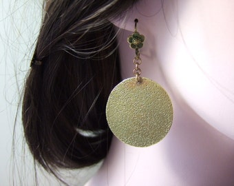 Hand Crafted Solid Brass Disc Earrings