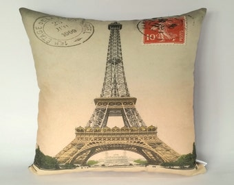 Paris Eiffel Tower cushion cover, French themed gifts, France and French gifts, French icon symbol