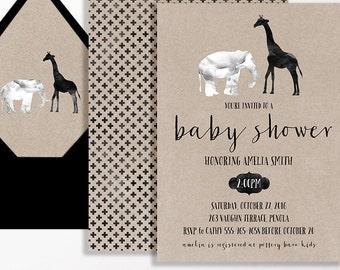 Black White Kraft Brown Elephant Baby Shower Invitation Giraffe Jungle Gender Neutral Script Printable Invite Safari Boy Girl Watercolour