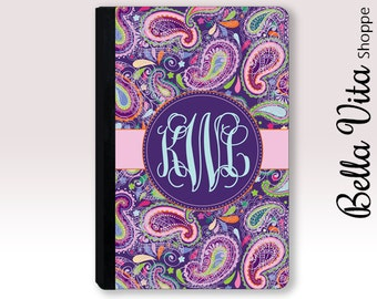 Personalized iPad Case, Monogrammed Pretty Purple Paisley Leather, 2004