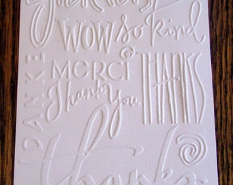 THANK YOU Embossed Card Stock Panels Perfect for Scrapbooking and Card Making - Set of 12