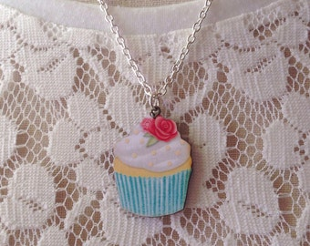 Colorful Cupcake Necklace,Bakers Jewelry,Bakers Gift,Pin Up,Rockabilly,Retro,Vintage Inspired,Kawaii,Kitsch Jewelry