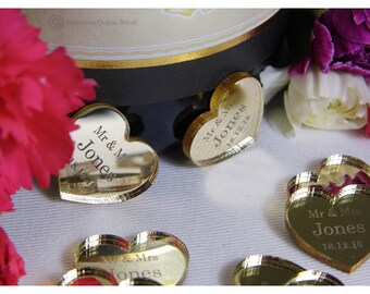 Personalised Wedding Favours Engraved with your Name/Date  - Mirrored Gold Hearts - Mr & Mrs Wedding Table Decorations