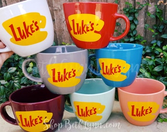 ORIGINAL Luke's Diner Inspired stoneware Big Mug - Luke's coffee mug - VINYL decal logo on BOTH sides