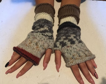 sale 20% off ! Knit Fingerless gloves  Mittens  Long Arm Warmers Boho Glove Women Fingerless Wrist multicolored gloves Ready to ship!