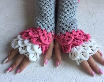 SALE! Fingerless Crocheted Gloves women fingerless gloves Dragon Scale women's gloves women's Arm Warmers winter gift Accessory