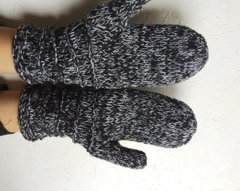 men  knitted mittens black  gray multicolored men gloves  winter gloves,men gift men accessories  black gloves Knitted Wool Mittens