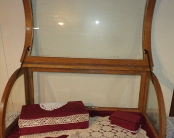 Antique Curved Glass Oak Tabletop Large Display Case