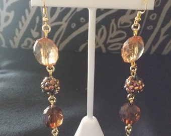 Gold and Brown Beaded Earrings