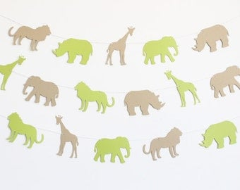 Zoo Animal Party Banner with Lions, Giraffes, Elephants, and Rhinos - Customizable Colors