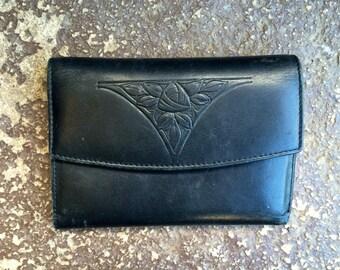 Vtg ROLFS Black Rose Wallet